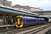 One of the latest refurbished FGW class 158s, 158748 pauses at Newport while working the 0922 Portsmouth Harbour to Cardiff Central on 24th March 2008.
