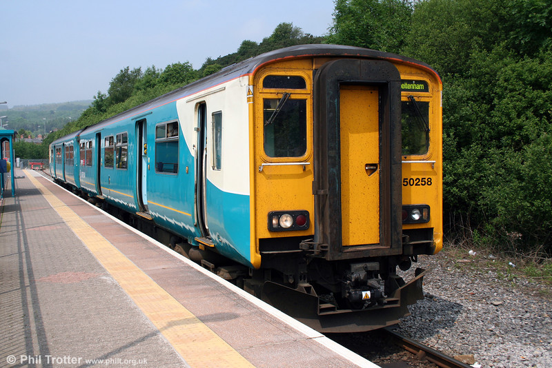 150258 waits at Maesteg ready to depart at 1217 for Cheltenham Spa on 2nd June 2008.