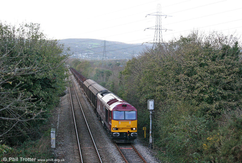 60040 'The Territorial Army Centenary' passes Felin Fran with 6B64, 1625 Trostre to Margam empties on 26th October 2008.