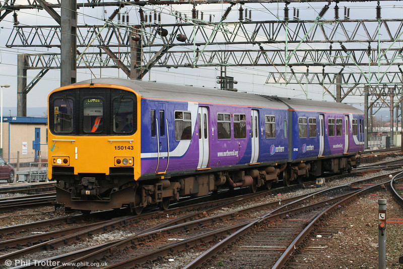 A smart looking 150143 arrives at Manchester Piccadilly on 17th March 2008...
