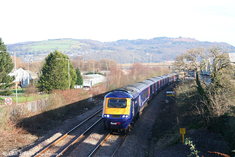 The 0930 Swansea to London Paddington heads away from Neath on 9th February 2008.