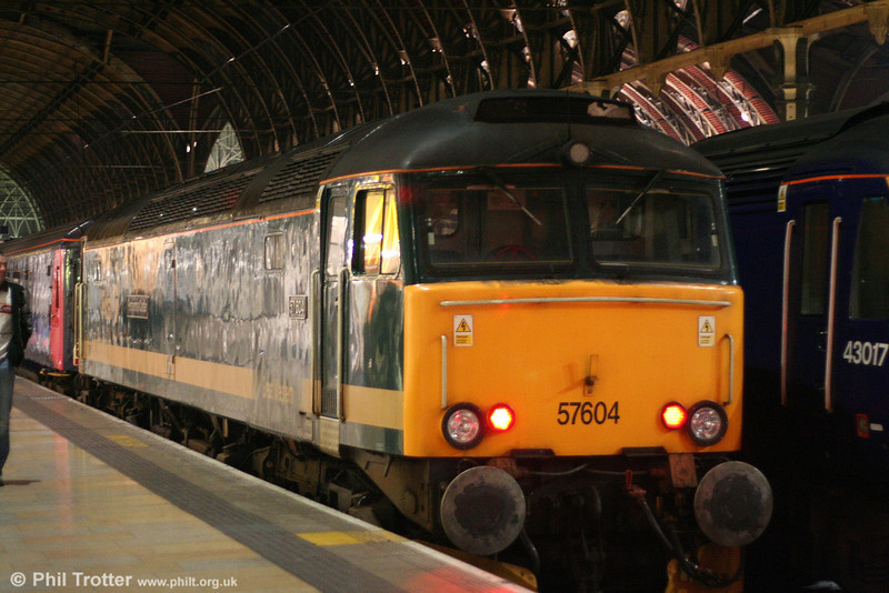 FGW's 57604 'Pendennis Castle' on the blocks at Paddington, having brought in the ecs for the 2345 overnight sleeper service to Penzance, 'The Night Riviera' on 14th March 2008.