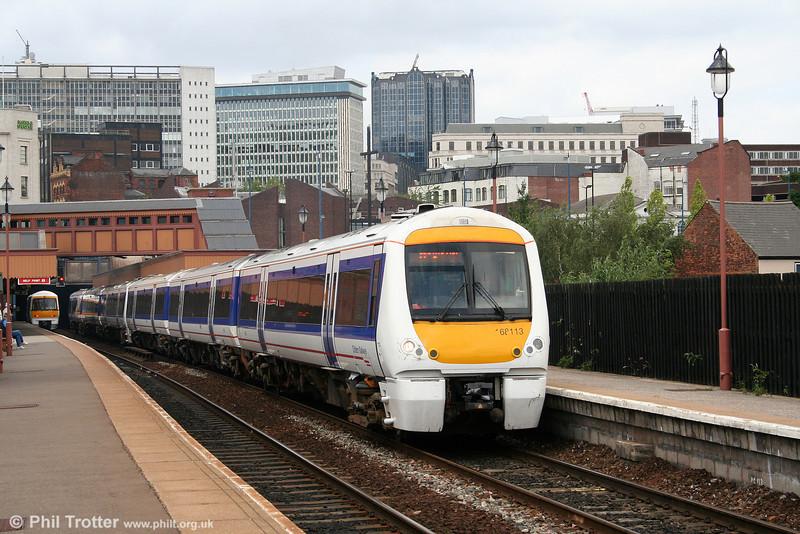 Chiltern 168113 calls at Birmingham Moor Street forming the 1352 Birmingham Snow Hill to London Marylebone on 28th June 2008.