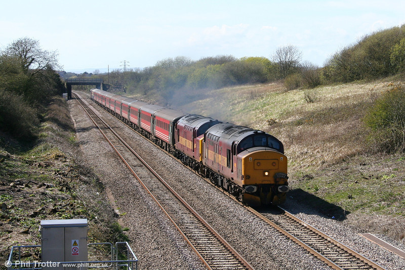 37417 'Richard Trevithick' and 37401 climb Stormy Bank with 5Z71, 1510 Margam to Cardiff Central ECS ready to go forward as Compass Tours' 1Z71, 1605 Cardiff Central to Blackburn. 12th April 2008.