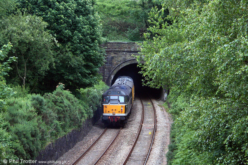 31190 is about to disappear into Lonlas Tunnel on the Swansea District Line at the rear of test train 2Z08 on 17th June 2008.