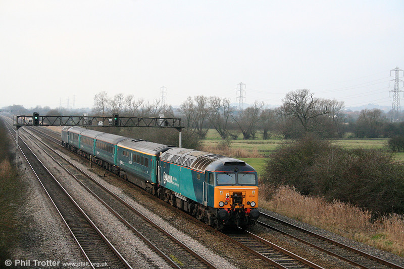57314 brings up the rear of ATW's 1V31, 0532 Holyhead to Cardiff, 'Y Gerallt Gymro' at Coedkernew on 29th December 2008.
