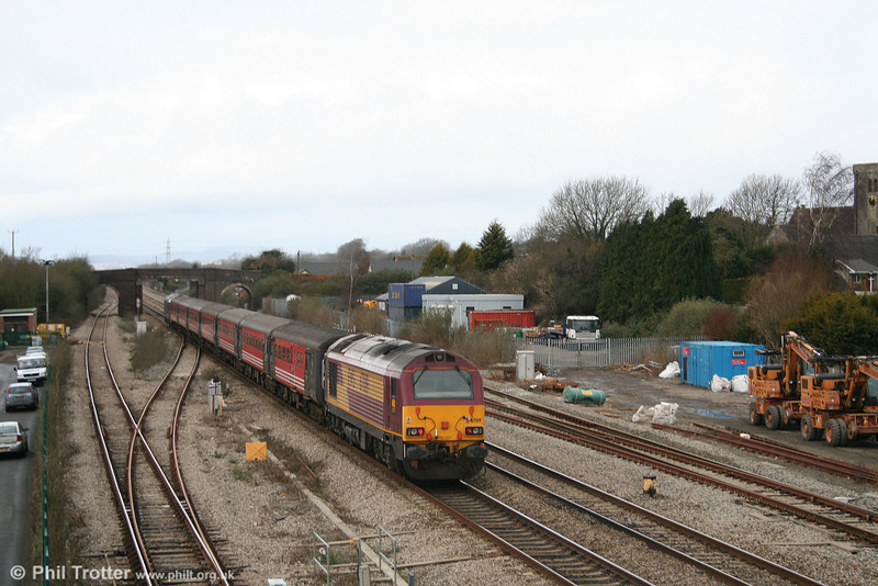 67019 at Magor, bringing up the rear of 1Z30, 1030 Westbury to Cardiff 'rugex' on 23rd February 2008.