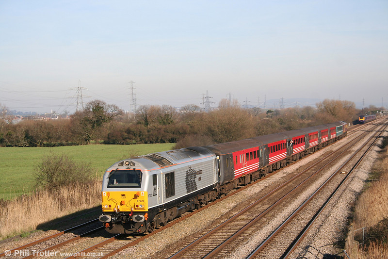 Silver liveried 67029 'Royal Diamond' passes Coedkernew with 1Z31, 0928 London Paddington to Cardiff 'rugex' on 9th February 2008.