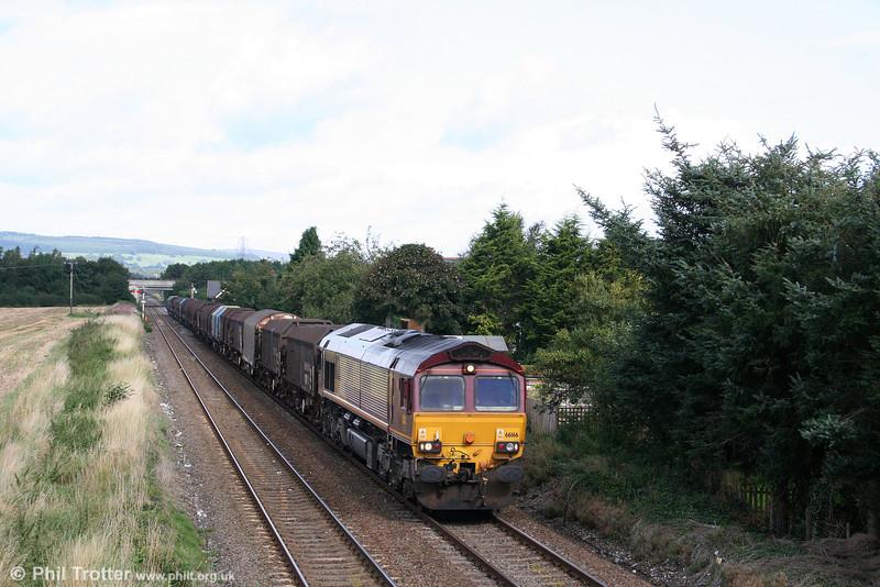 66166 near Gobowen with 6V75, 0930 Dee Marsh to Margam on 2nd September 2008.