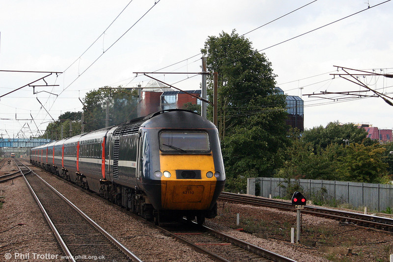 NXEC 43110 approaches Stevenage with the 0755 Inverness to London King's Cross, 'The Highland Chieftain' on 11th September 2008.