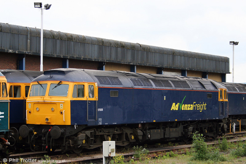 Cotswold Advenza 57005 takes a rest from working the Stockton to Cardiff Tidal scrap trains at Gloucester on 17th May 2008.