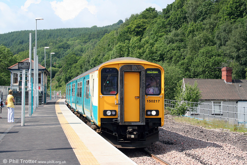 150217, one of the units recently transferred from Central Trains for frequency enhancements in the Cardiff Valleys, calls at Abercynon with the 0941 Barry Island to Aberdare on 31st May 2008.