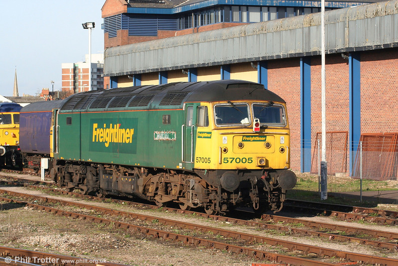 Cotswold Rail now has acquired Freightliner 57005, until recently named 'Freightliner Excellence' and previously D1831 and 47350, seen parked in the winter sunshine at Gloucester on 26th January 2008.