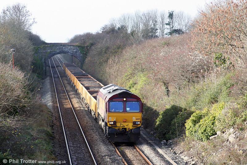 66159 heads engineers' spoil train 6W02, 1100 Bridgend to Newport ADJ via Margam through Gileston on 23rd November 2008.