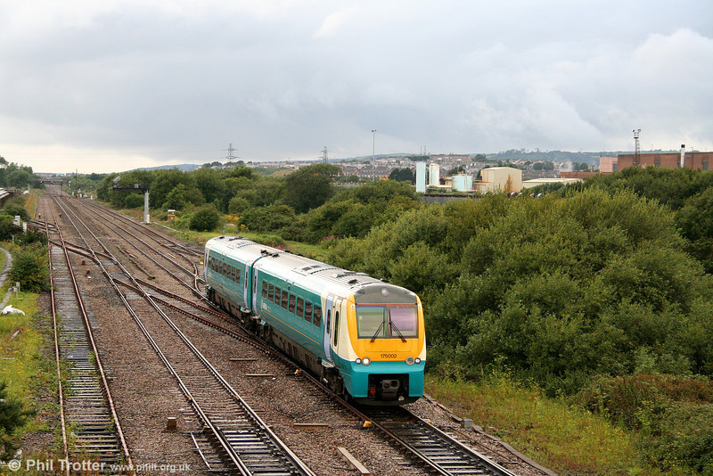 A typically wet August evening finds 175002 passing Llandeilo Junction forming the 1710 Milford Haven to Manchester Piccadilly on 7th August 2008.