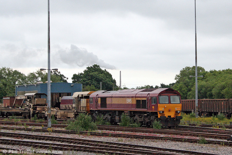 While other members of the class were on display at the Quarry Gala, 59205 'L. Keith McNair' is seen in Westbury Yard with an engineers' train on 21st June 2008.
