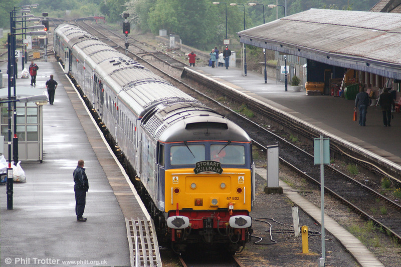 A damp afternoon at Carmarthen: DRS 47802 'Pride of Cumbria' rests at Carmarthen while working the 'Stobart Pullman' tour on 15th May 2008.