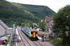 The station house at Crosskeys now once again is able to live up to its name! Crosskeys, the final station to (re)open on the Ebbw Vale line was brought into use on 7th June 2008. With Mynyddislwyn as a backdrop, refurbished 150255 calls with the 1140 Ebbw Vale to Cardiff Central on opening day.