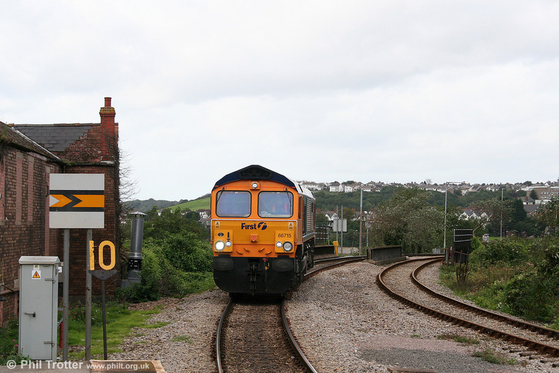 GBRf 66715 'Valour' arrives at Barry Island during its filming run around South Wales on 10th September 2008.