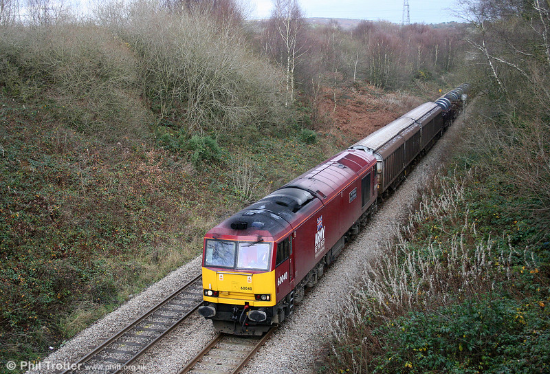 60040 'The Territorial Army Centenary' passes Llangyfelach with 6B48, 1410 Margam to Trostre on 21st November 2008.
