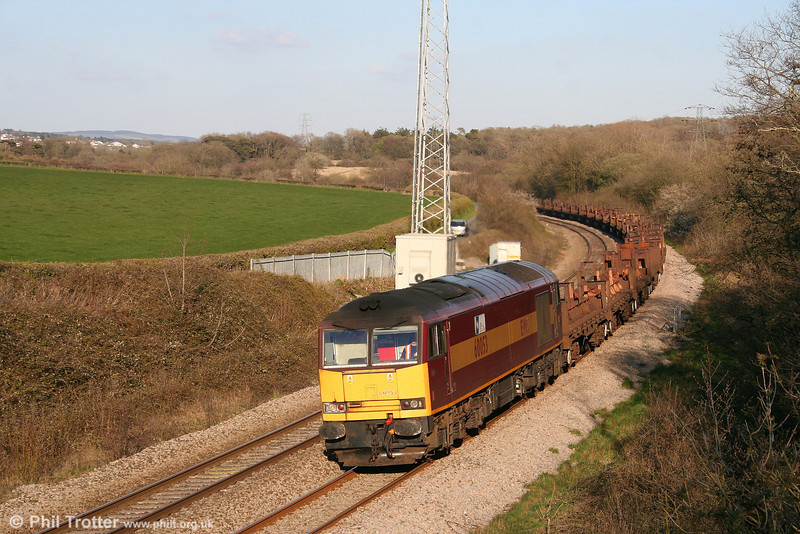 60053 'Nordic Terminal' at Llangewydd with 6V92, 1010 Corby to Margam steel empties on 17th April 2008.