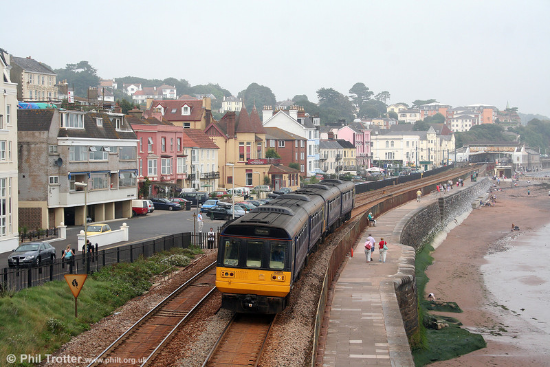 142070 passes along the sea wall at Dawlish, leading 2T19, 1320 Exmouth to Paignton on 30th August 2008.