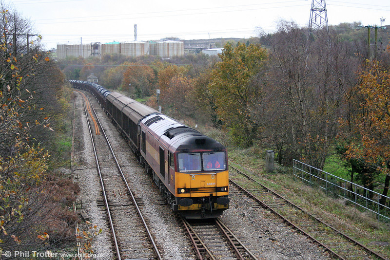60039 at Llandarcy with a healthy-looking 6B12, 1423 Margam to Trostre coils on 9th November 2008.