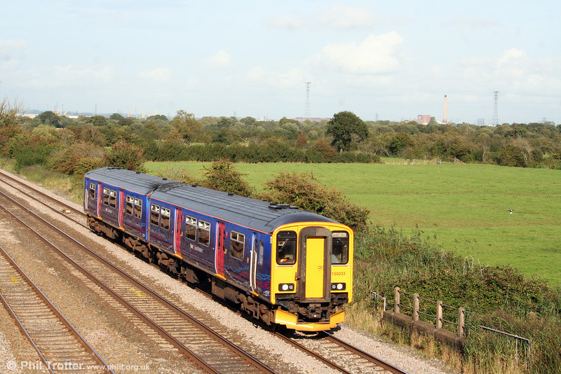 FGW's recently refurbished 150233 passes Coedkernew forming the 1518 Taunton to Cardiff Central on 10th September 2008.