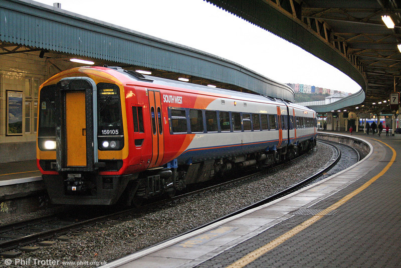 South West Trains 159105 waits to leave Bristol Temple Meads forming the 1552 service to London Waterloo on 1st November 2008.