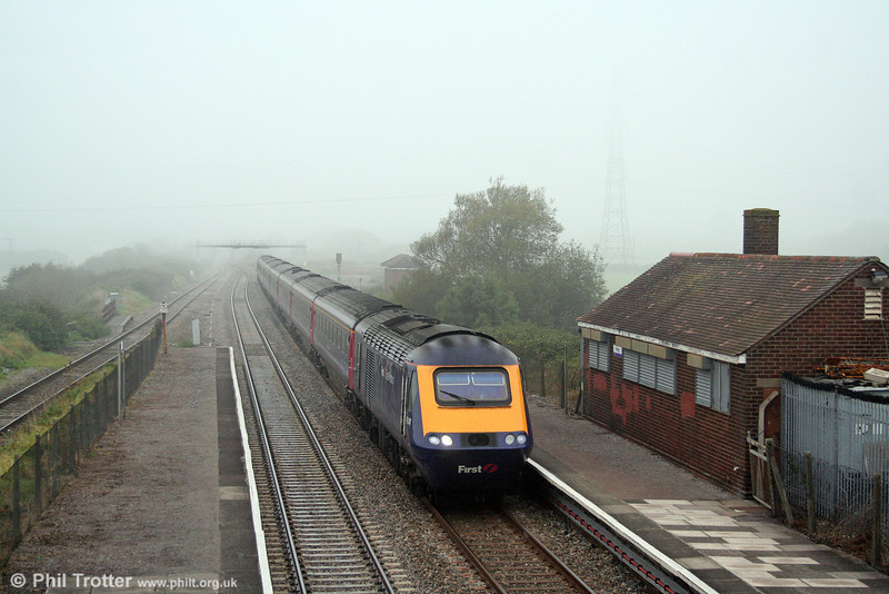 FGW 43041 emerges from the fog at Pilning, heading the 0829 Swansea to London Paddington on 27th September 2008.