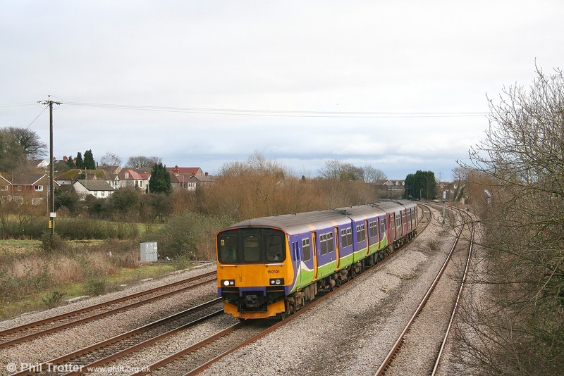 Former Silverlink 150121 at Magor, forming the strengthened 1011 Taunton to Cardiff Central on 23rd February 2008.