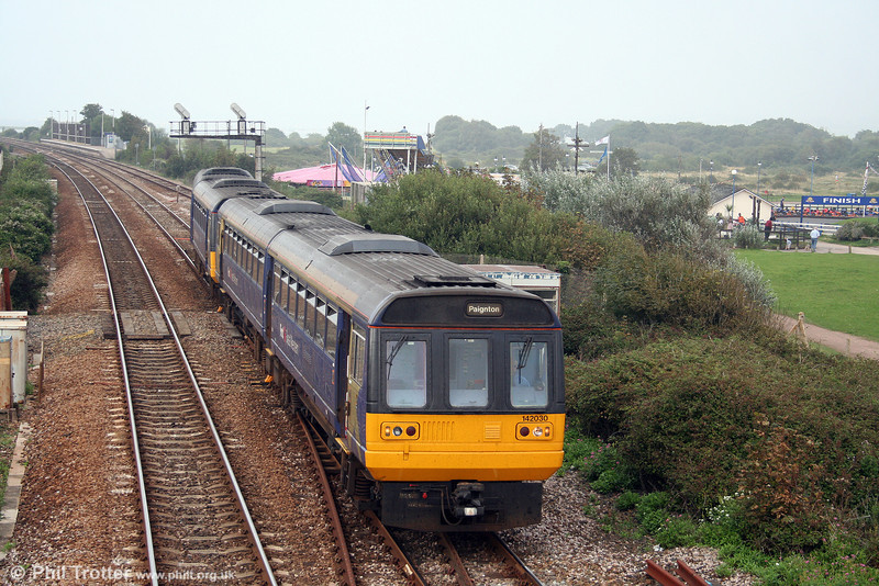 142030 departs from Dawlish Warren leading 2T23, 1620 Exmouth to Paignton on 30th August 2008.