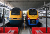 East Midlands Trains 43074 and 222011 at St. Pancras International on 20th September 2008.