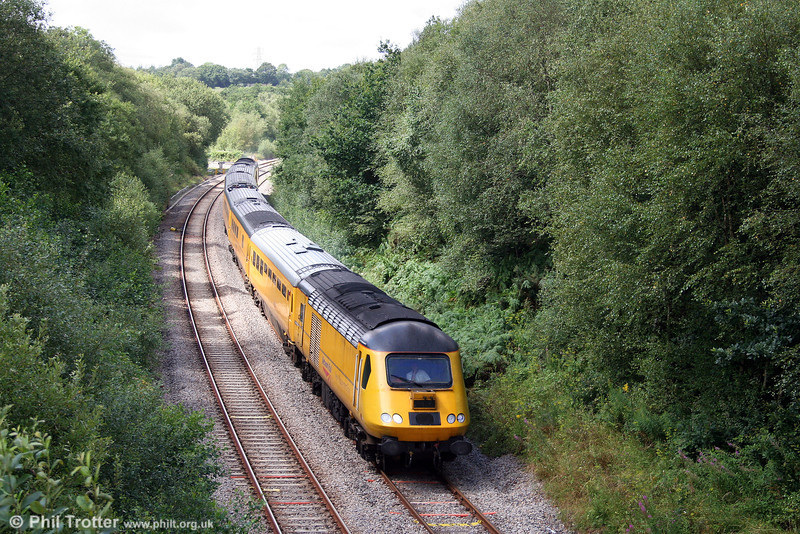 Network Rail's 43013 leads 1Z20, 1219 Carmarthen to Swansea NMT through Llangyfelach, Swansea District Line, on 1st August 2008.
