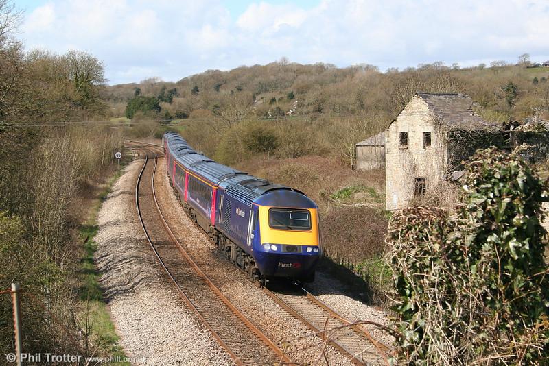 43134 heads the 1229 Swansea to London Paddington through Llangewydd on 12th April 2008.