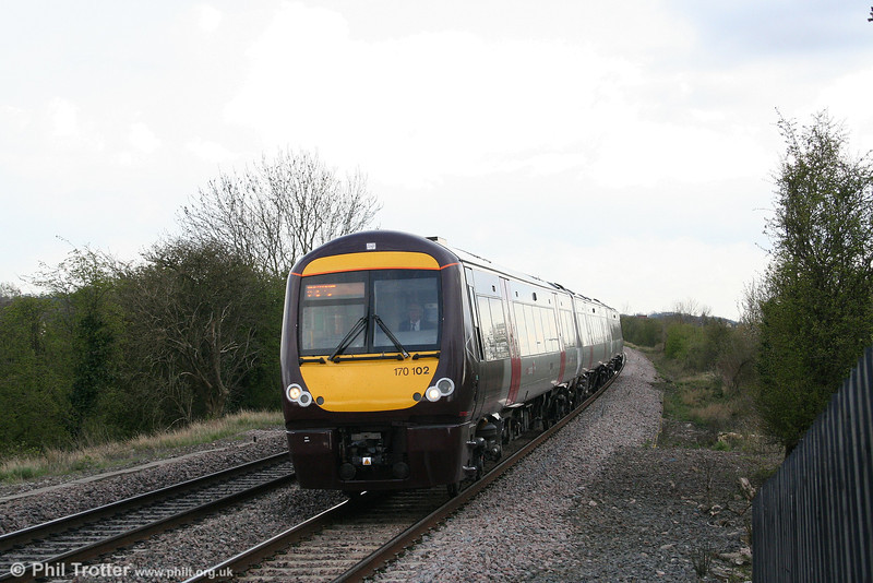 Cross Country is making good progress with repainting its fleet. Here, 170102 approaches Tamworth forming the 1445 Cardiff Central to Nottingham on 14th April 2008.