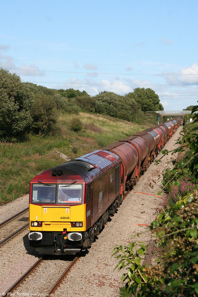 60040 'The Territorial Army Centenary' descends Stormy Bank with 6B33, 1333 Theale to Robeston on 14th August 2008.