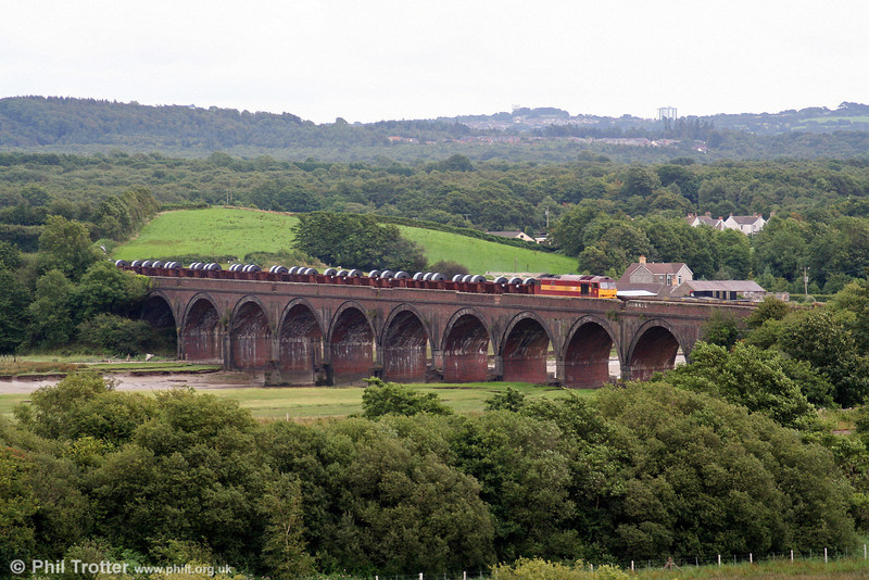 60085 'Mini - Pride of Oxford' rumbles across Morlais Viaduct on the Swansea District Line with 6B12, 1421 Margam to Trostre coils on 3rd August 2008.
