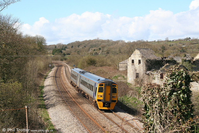 ATW's 158819 at Llangewydd forming the 1110 Milford Haven to Manchester Piccadilly on 12th April 2008.