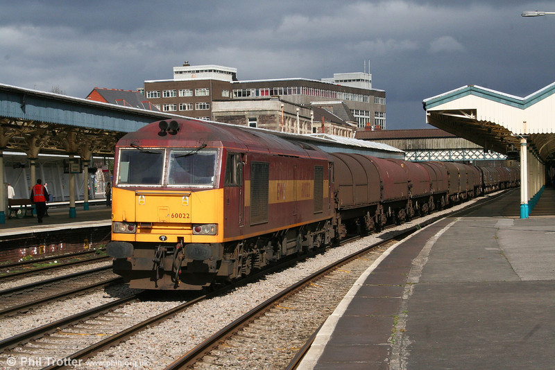 I like it when the weather does this! In full sun against a black sky, 60022 rumbles through Newport at the head of 6V75, 0930 Dee Marsh to Margam on 24th March 2008.