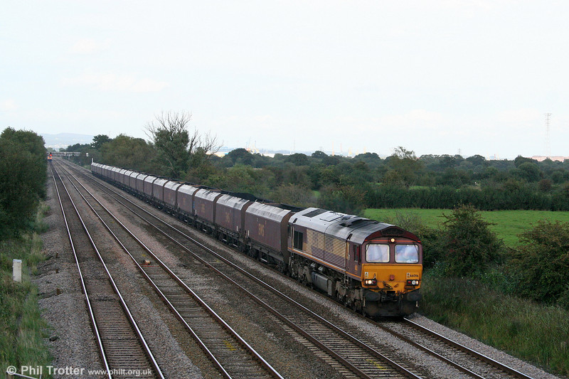 66096 at Coedkernew with 6B86, 1300 Portbury to Aberthaw Power Station on 10th September 2008.