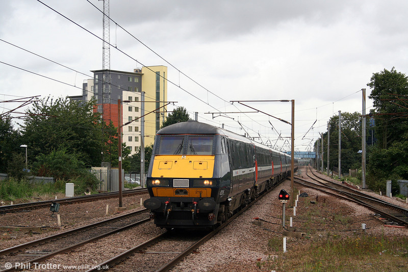 The 1130 Newcastle to London King's Cross, led by DVT 82216 slows to call at Stevenage on 11th September 2008.