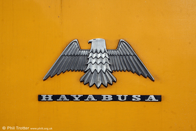 The name and Falcon logo attached to NR's hybrid power car 43089 'Hayabusa' on 2nd September 2008. The name translates as the Japanese word for Falcon - traditionally the logo used by Brush Traction and of course the name of its factory - Falcon Works.