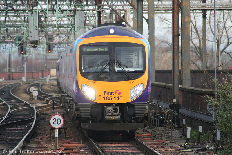 FTPE 185140 heads towards Manchester Piccadilly forming the 1547 Manchester Airport to Blackpool North on 17th March 2008.