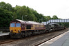 66199 waits to leave Haverfordwest with 6Z66, 1343 Haverfordwest to Didcot Yard, consisting mainly of British Army Scimitar AFVs on 19th May 2008.