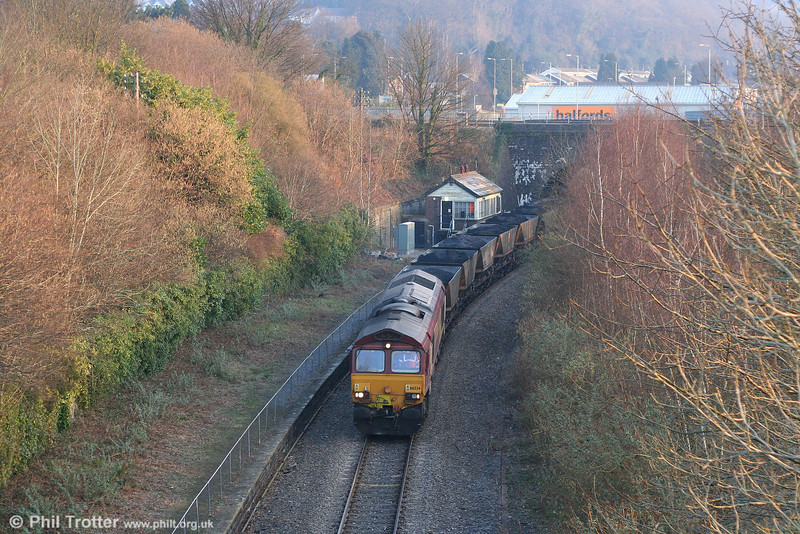 66034 at Neath Riverside with 6O31 from Onllwyn on 16th February 2008.