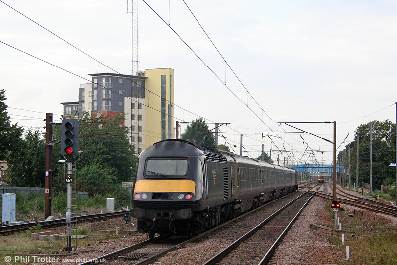 Grand Central 43065 brings up the rear of the 1650 King's Cross to Sunderland at Stevenage on 11th September 2008.