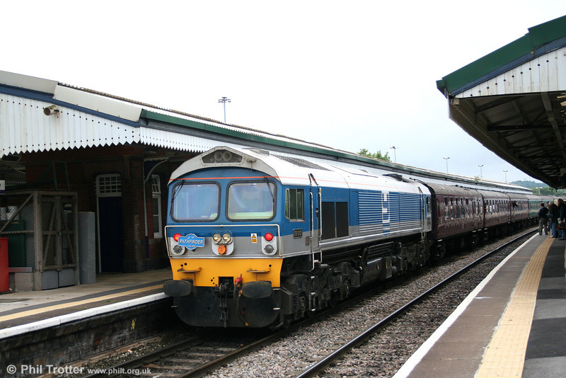 59001 'Yeoman Endeavour' leaves Westbury at the rear of 1Z18, the 1750 departure for Cranmore on 21st June 2008.