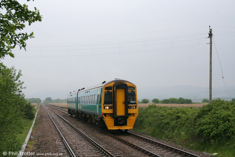 ATW 158820 at Llangennech forming the 1055 Cardiff Central to Fishguard Harbour on 15th May 2008.
