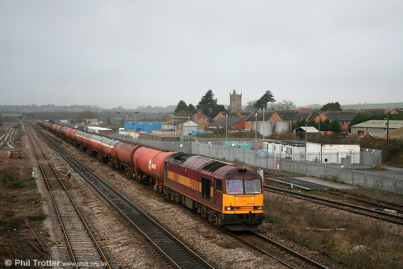 60041 (carrying the early 'EW&S' branding) passes Severn Tunnel Junction with 6B13, 0510 Robeston to Westerleigh on 20th December 2008.